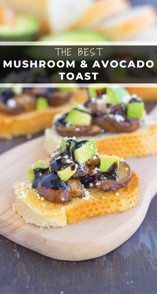 This Mushroom, Avocado and Feta Toast combines fresh mushrooms, ripe avocado and creamy feta cheese, piled high on toasted bread and drizzled with a balsamic glaze. This simple toast makes a deliciously easy appetizer or side dish! #mushrooms #mushroomtoast #mushroomrecipe #avocado #avocadotoast #toast #toastrecipe #appetizer