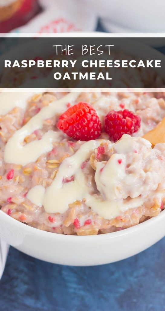 This simple and delicious Raspberry Cheesecake Swirl Oatmeal features hearty oats, fresh raspberries, and a swirl of creamy cheesecake. Easy to make, full of flavor, and on the healthier side, dessert for breakfast never tasted so good! #oatmeal #oatmealrecipe #raspberryoatmeal #cheesecakeoatmeal #breakfast #healthybreakfast