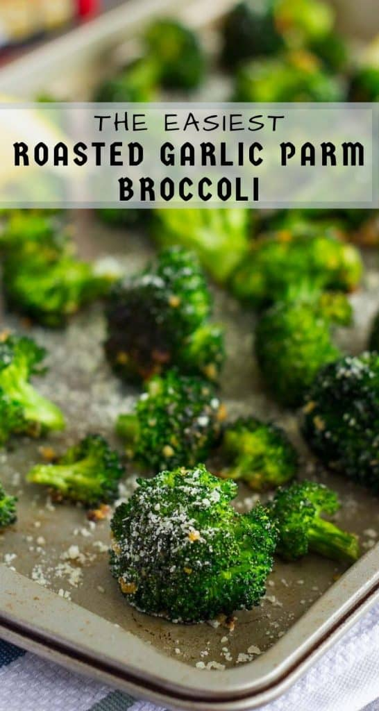 Roasted Garlic Parmesan Broccoli is an easy side dish that's bursting with flavor. Prepped and cooked in one pan, you'll have this roasted vegetable ready in no time! #broccoli #roastedbroccoli #broccolirecipe #vegetables #roastedvegetables #sidedish #easysidedish