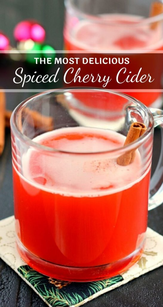 This Spiced Cherry Cideris filled with sweet apple cider and spiced with cinnamon and cherry gelatin. It's simmered until the flavors are blended together and makes the perfect drink for when you need a little warming up! #cider #ciderrecipe #cherrycider #cherrydrink #holidaybeverage #holidaydrink #christmasdrink #drink