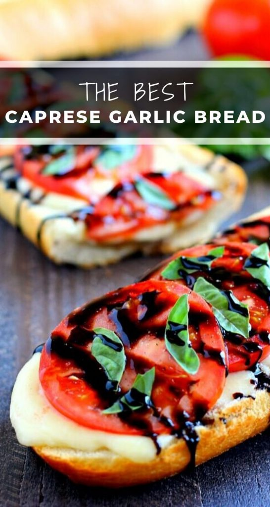 This Toasted Caprese Garlic Bread is made with hints of garlic and topped with ripe tomatoes, fresh basil, and creamy mozzarella cheese! #garlicbread #caprese #capreserecipe #capresebread #capresegarlicbread #garlicbreadrecipe