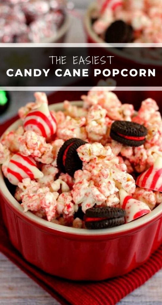 White Chocolate Candy Cane Popcorn is an easy treat that's perfect for the holidays! #popcorn #whitechocolate #whitechocolatepopcorn #candycane #candycanepopcorn #holidaysnack #christmasappetizer