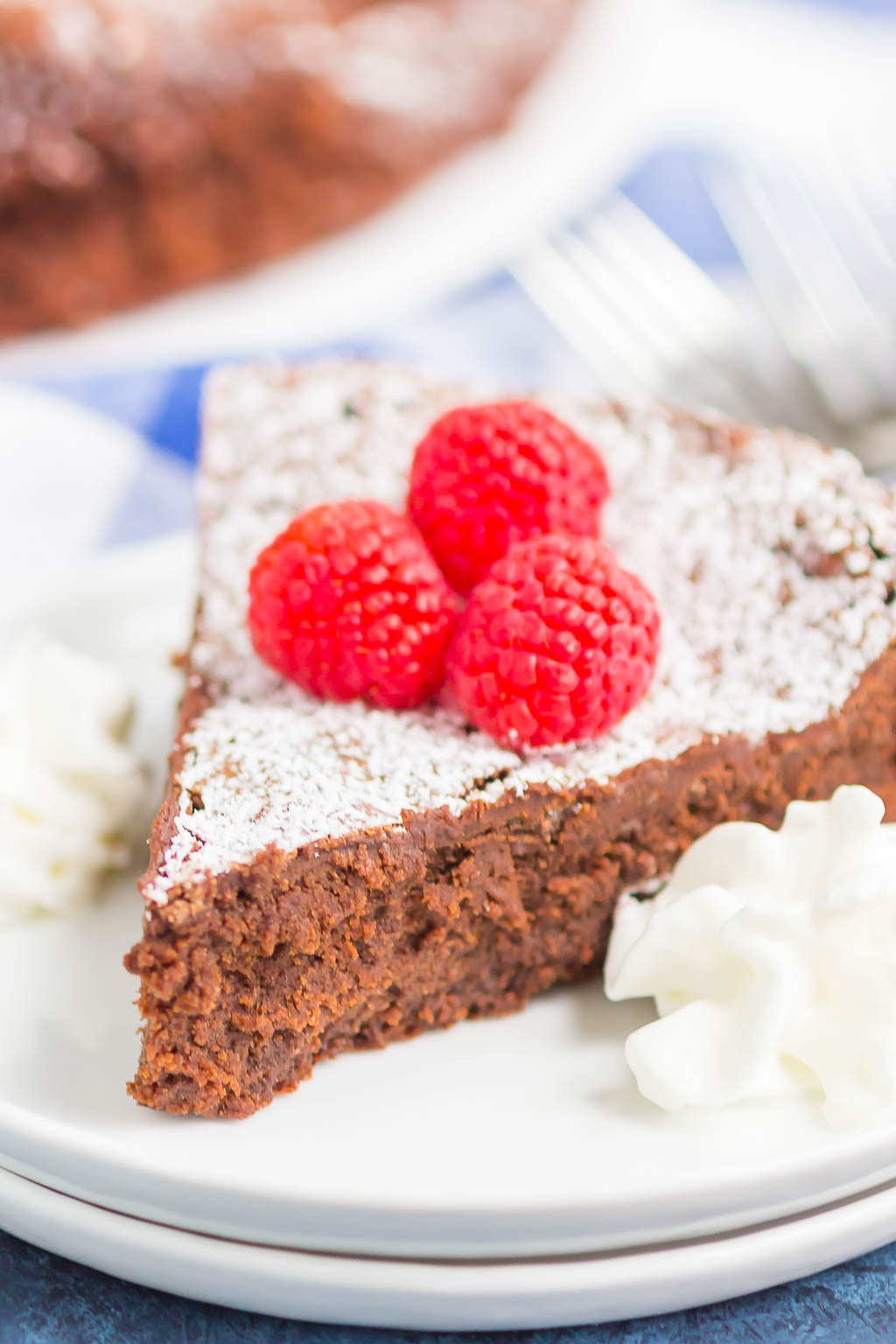 Flourless Chocolate Cake is an easy dessert that's rich, fudgy and decadent. Made with just five ingredients, this smooth and gluten-free cake is will become a favorite all year long! #cake #chocolatecake #flourlesscake #flourlesschocolatecake #chocolatetorte #flourlessdessert #dessert #chocolate dessert