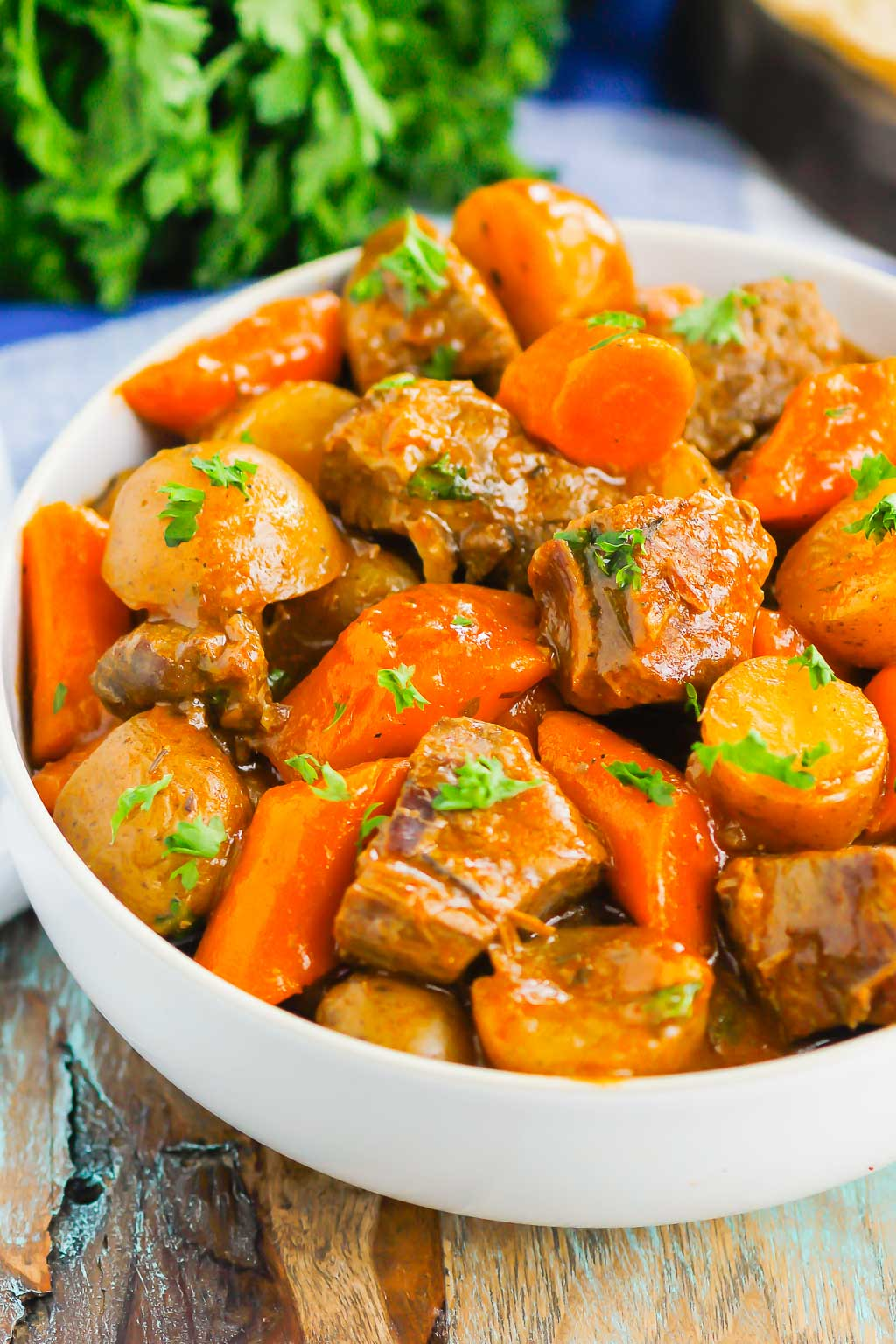 Instant Pot Beef Stew is a simple, hearty dish that's full of cozy flavors. Tender beef, potatoes and carrots are tossed in a savory gravy that's ready in less than an hour. This easy meal will quickly become a dinner time favorite all year long!