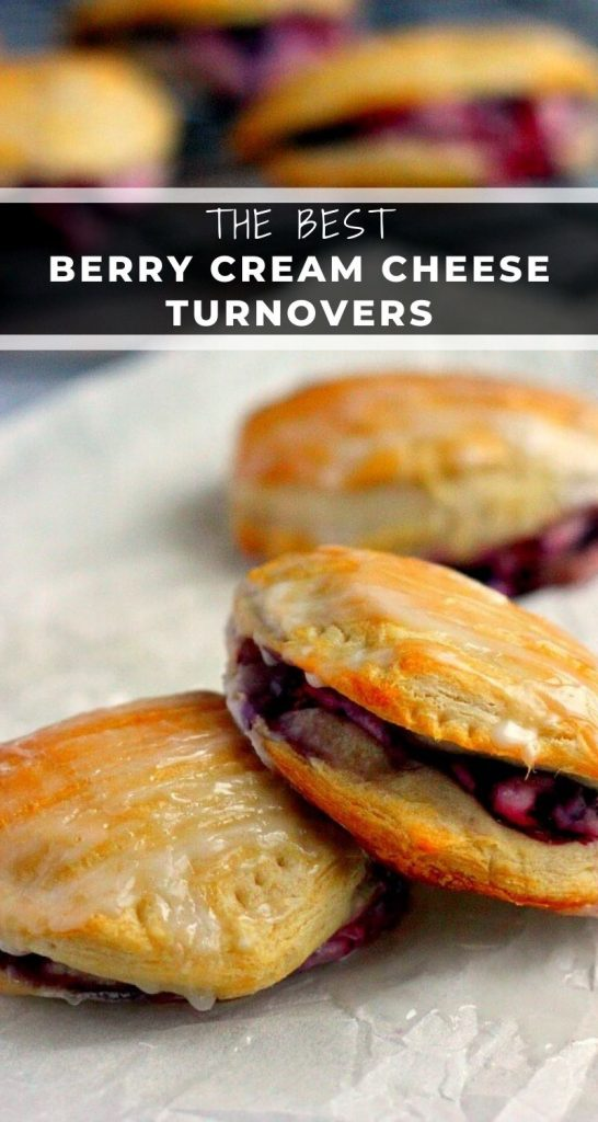 Light, fluffy, and bursting with a creamy fruit center, these Berry Cream Cheese Turnovers are perfect for breakfast, a mid-morning snack, or dessert! #turnovers #turnoverrecipe #biscuits #berryturnovers #berrypastries #breakfast #dessert