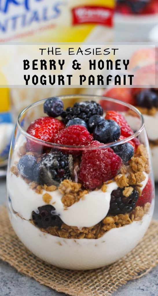 Packed with creamy yogurt, fresh berries, granola and honey, this Berry Honey Yogurt Parfait is a delicious way to start your mornings off right! #yogurt #yogurtparfait #yogurtparfaitrecipe #berryparfait #healthybreakfast #healthysnack