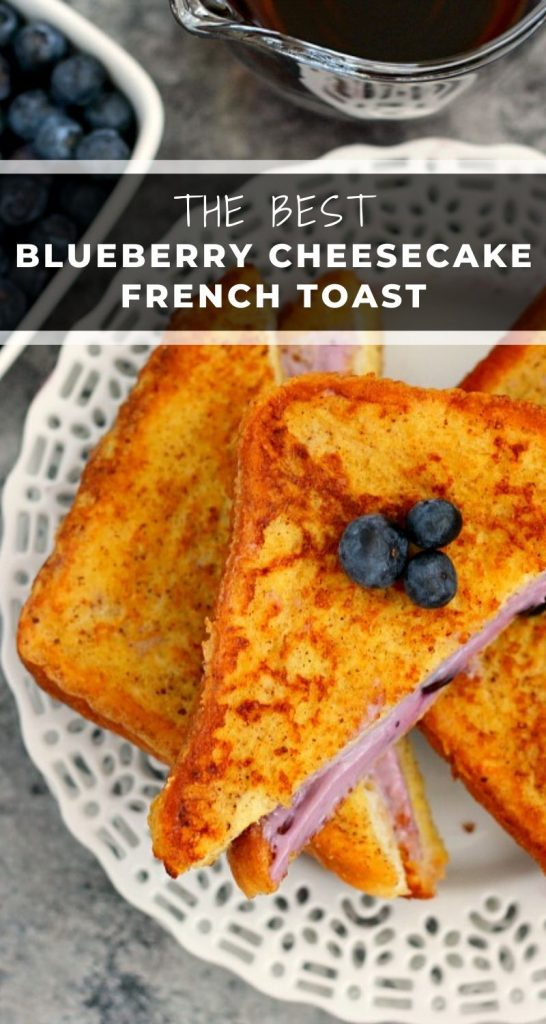 This Blueberry Cheesecake Stuffed French Toast is filled with a sweet cream cheese mixture and then cookeduntil golden. It's simple to prepare and makes an indulgent breakfast that will wow yourtaste buds! #frenchtoast #frenchtoastrecipe #stuffedfrenchtoast #cheesecakefrenchtoast #blueberryfrenchtoast #breakfast
