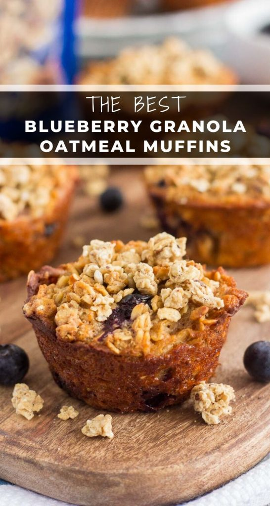 These Blueberry Granola Oatmeal Muffins are packed with hearty oats, fresh blueberries, and topped withsweet granola. Crunchy on the outside and soft on the inside, this simple breakfast can be prepped the night before and made in the morning! #muffins #blueberrymuffins #granolamuffins #oatmealmuffins #muffinrecipe #healthybreakfast #healthysnack #breakfast