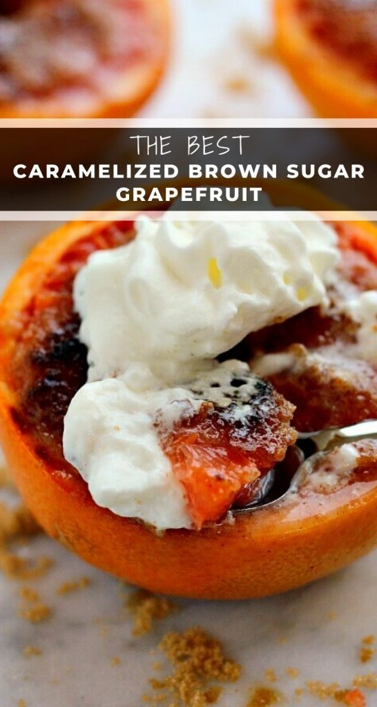 Loaded with flavor, this Caramelized Brown Sugar Grapefruit is broiled to perfection, resulting in a sweet and tangy treat that will tickle your taste buds! #grapefruit #grapefruitrecipe #caramelizedgrapefruit #breakfast #dessert #healthydessert #grapefruitdessert