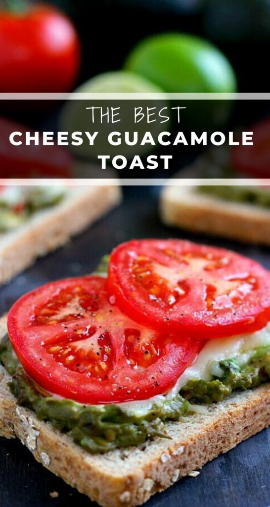 This Cheesy Guacamole Toast is loaded with creamy guacamole, mozzarella cheese, and fresh tomatoes. Full of flavor and healthy ingredients, this toast makes the perfect breakfast or mid-morning snack! #toast #guacamole #guacamoletoast #avocadotoast #cheesytoast #toastrecipe