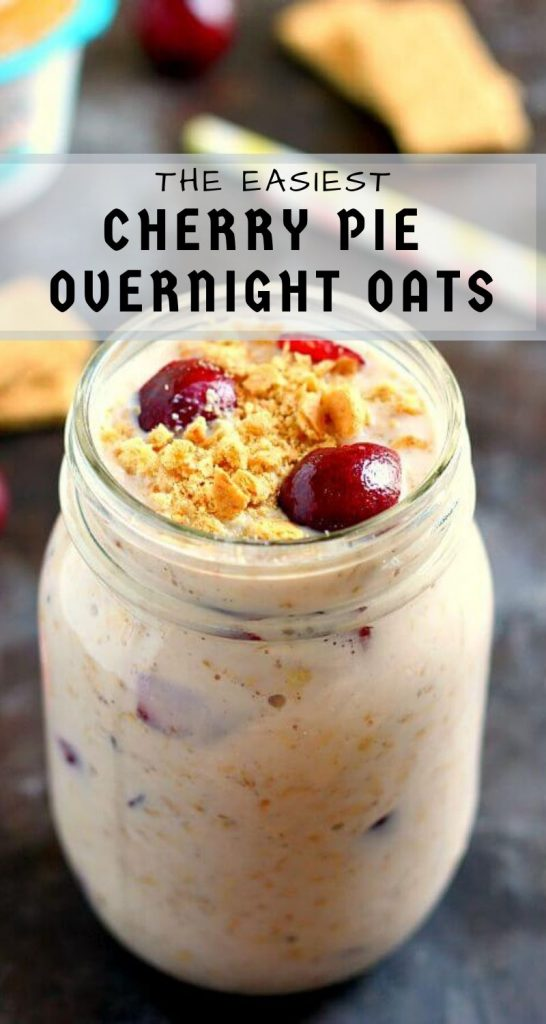 Packed with just a few simple ingredients, these Cherry Pie Overnight Oatstaste like cherry pie, in healthy form! #overnightoats #overnightoatsrecipe #cherryovernightoats #cherryoatmeal #healthybreakfast #breakfast