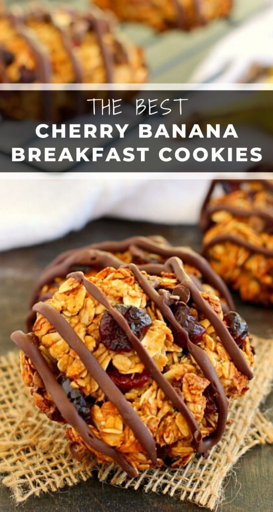 Jam-packed with hearty oats, bananas, dried cherries and chocolate chips, these Chocolate Cherry Banana Breakfast Cookies are a healthy, one-bowl treat. If you love eating dessert for breakfast, then these cookies were made for you! #cookies #breakfastcookies #breakfastcookierecipe #cherrybreakfastcookies #bananabreakfastcookies #healthybreakfast