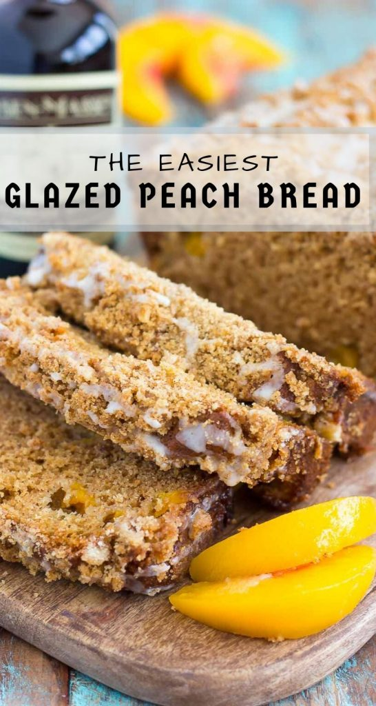 This Glazed Peach Streusel Bread is packed with juicy peaches and topped with a cinnamon crumble and sweet vanilla glaze. You'll fall in love with the soft and fluffy texture and deliciously sweet flavor! #bread #quickbread #peachbread #peachquickbread #quickbreadrecipe #breakfast #peachbreakfast #peachdessert #dessert
