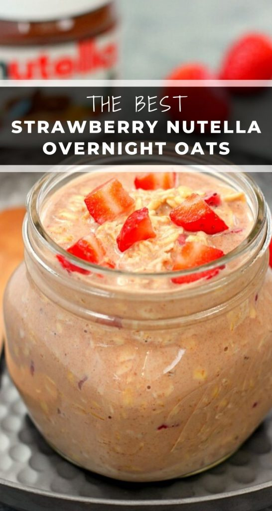 These Strawberry Nutella Overnight Oats are a delicious way to start your morning! Filled with creamy Greek Yogurt, fresh strawberries and a swirl of Nutella, these protein-packed oats are irresistibly sweet and secretly good for you! #overnightoats #overnightoatsrecipe #strawberryovernightoats #nutellaovernightoats #easybreakfastrecipe #healthybreakfast #makeaheadbreakfast #breakfast