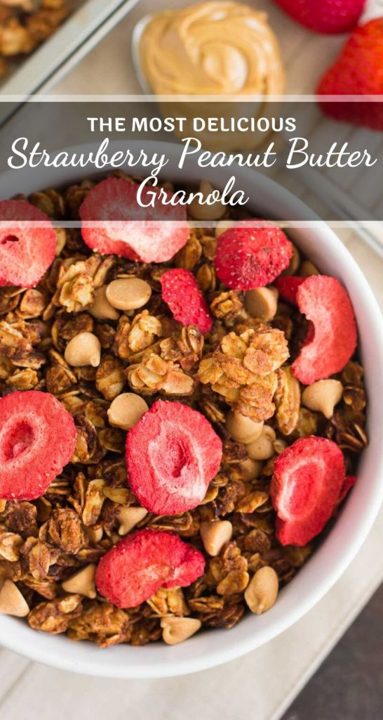 This Strawberry Peanut Butter Granola is packed with crunchy granola clusters, pecans, peanut butter chips, and strawberries. It's an easy treat that makes the perfect breakfast or snack to satisfy your peanut butter cravings! #granola #granolarecipe #easygranola #strawberrygranola #peanutbuttergranola #healthygranola #healthybreakfast #healthysnack #breakfast #snack