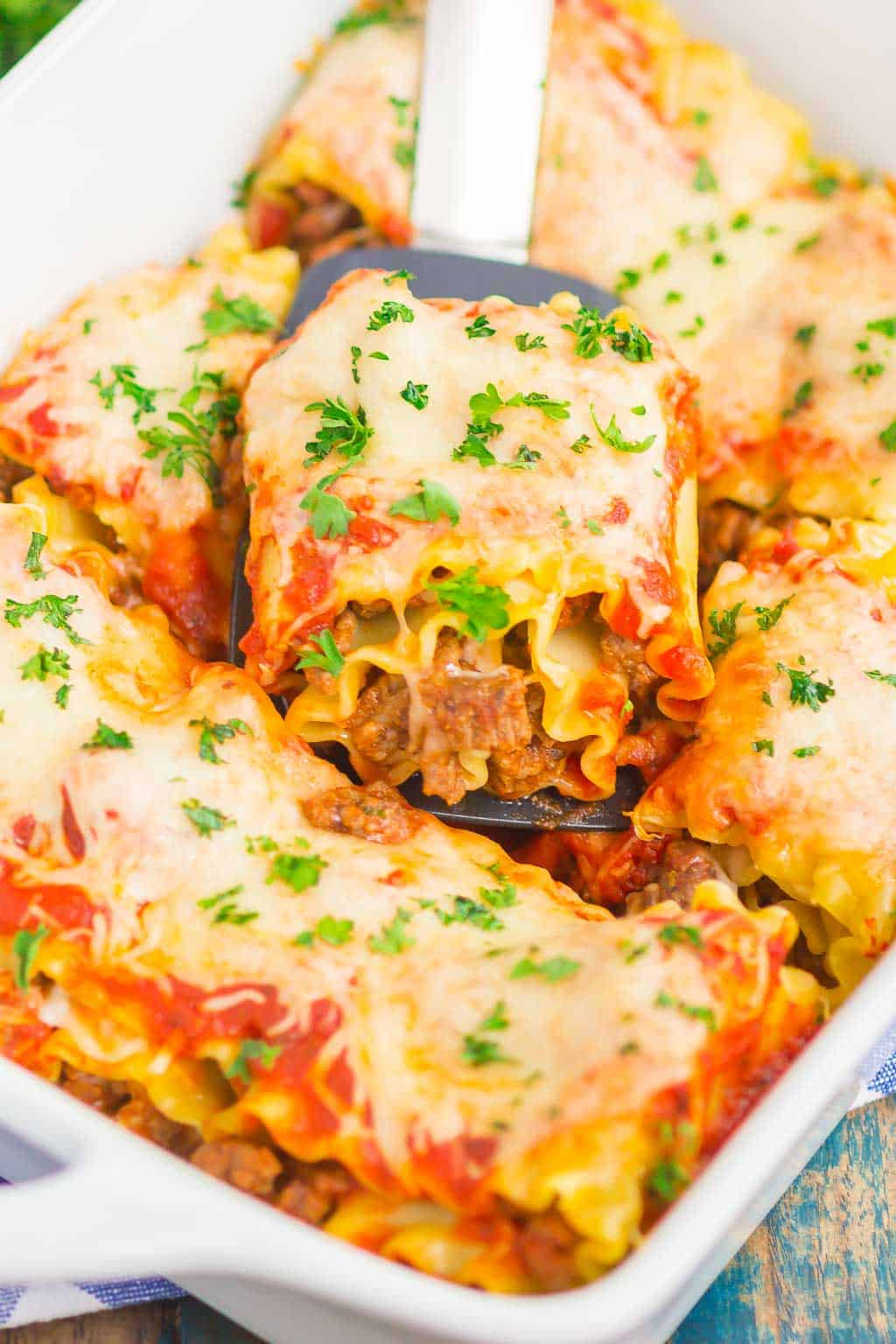 Easy Lasagna Rolls combine the classic flavors of lasagna, but without all of the prep work. With just a few ingredients, this hearty comfort dish is ready in 30 minutes!