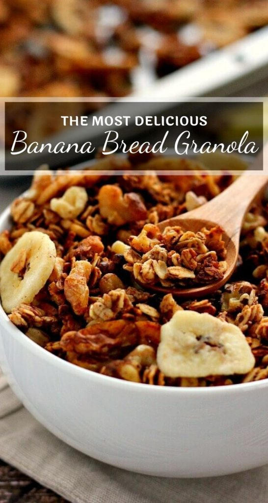 This Banana Bread Granola is crunchy, hearty, and tastes just like banana bread! It's the perfect breakfast or snack to keep you full and satisfied! #granola #granolarecipe #bananagranola #bananabreadgranola #bestgranola #healthygranola