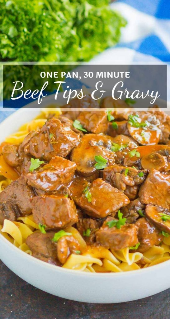 Beef Tips and Gravy make a simple, one pan meal that's ready in just 30 minutes. Tender beef tips are smothered in an easy and flavorful mushroom gravy. Serve on top of noodles or mashed potatoes for a deliciously hearty meal! #beef #beeftips #beefrecipe #beeftipsandgravy #bestbeeftips #gravy #easydinnerrecipes #dinner #comfortfood