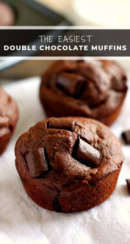 These Double Chocolate Chunk Muffins are the cure for any chocolate craving and will satisfy your sweet tooth. They bake up high and fluffy, with an intense chocolate flavor! #muffins #chocolatemuffins #easymuffins #bestmuffins #dessert #breakfast