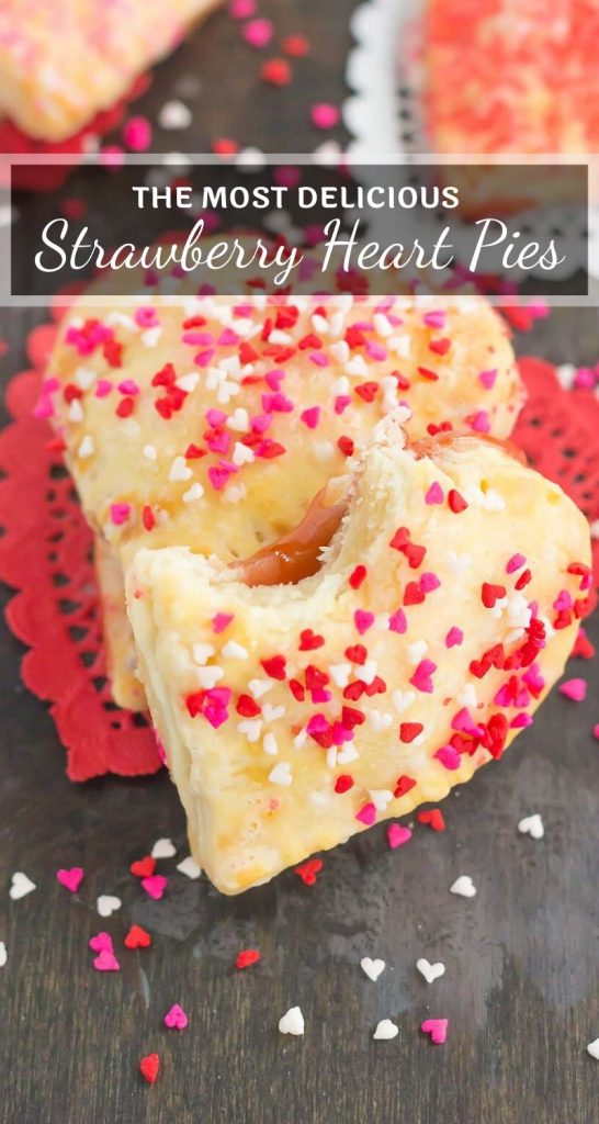 These Mini Strawberry Heart Pies are the perfect dessert for spoiling your sweetie on Valentine's Day or for entertaining those party guests. A pre-made pie crust is cut into the shape of hearts and then filled with sweet strawberry jam. It's an impressive treat that looks time-consuming but is so easy to make! #pie #minipie #strawberrypie #strawberrypierecipe #valentinesdaydessert #valentinesdayrecipe #heartpie #easypie