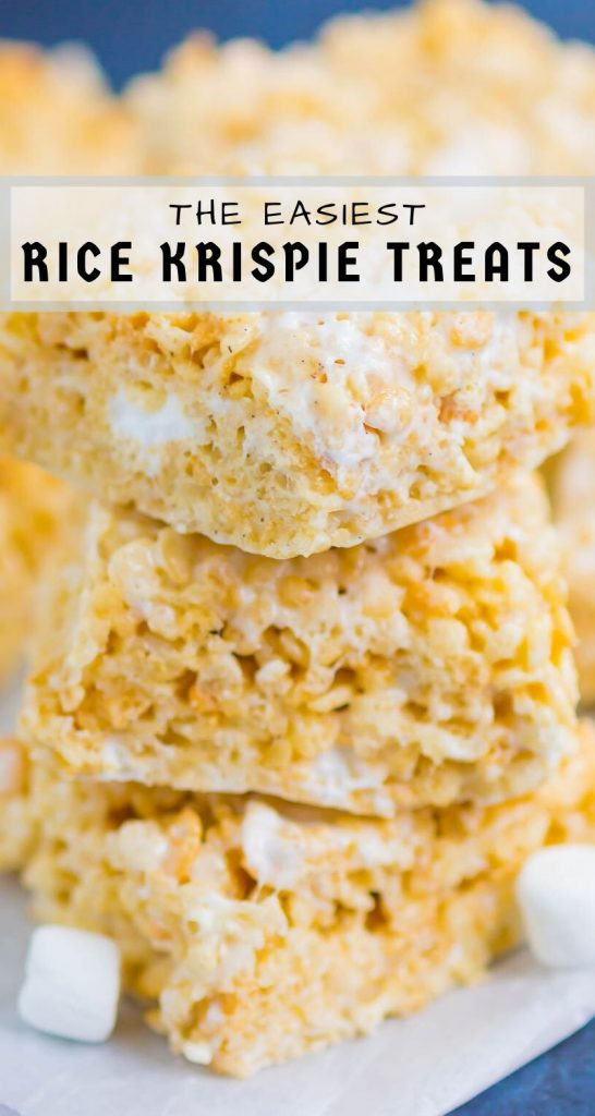 Rice Krispie Treats are soft, chewy, and loaded with pockets of sweet marshmallows. Made with just a few ingredients and ready in no time, this classic dessert will be a hit with everyone! #ricekrispietreats #bestricekrispietreats #ricekrispies #ricekrispie #marshmallowdessert #marshmallows #nobake
