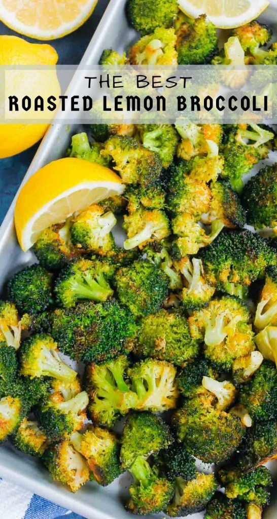 Roasted Garlic Lemon Broccoli is an easy side dish that's ready in less than 30 minutes. With just four ingredients, this simple veggie is tender, yet slightly crispy and all-around delicious! #broccoli #broccolirecipe #roastedbroccoli #lemonbroccoli #garlicbroccoli #sidedish #vegetable #glutenfreesidedish