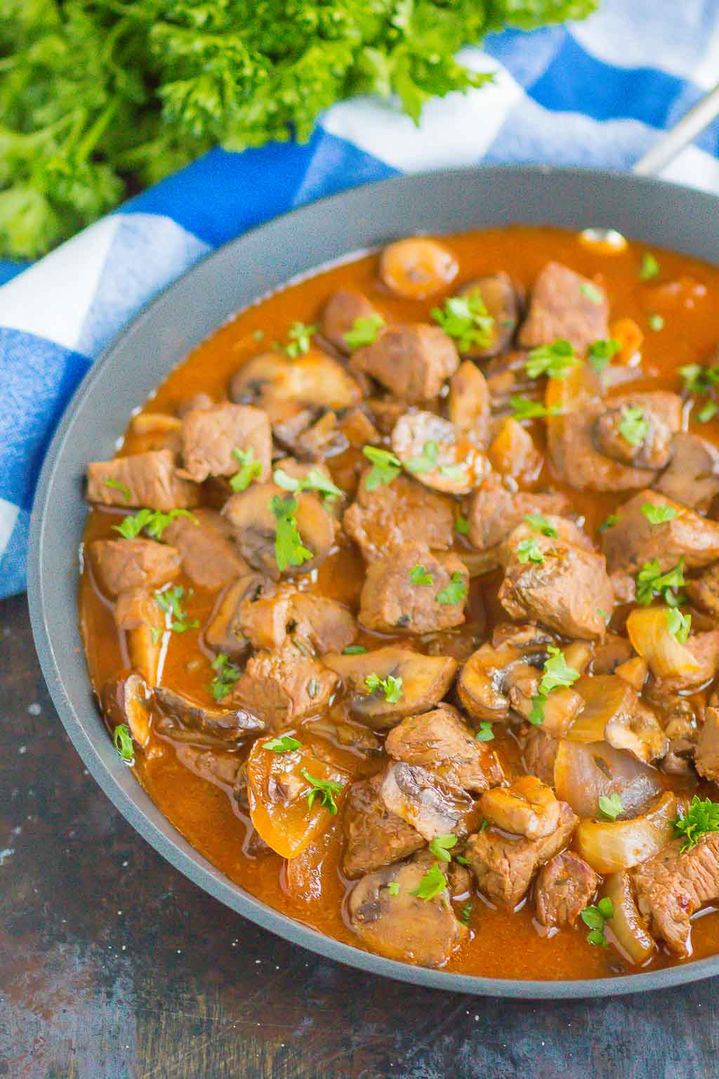 Beef Tips and Gravy make a simple, one pan meal that's ready in just 30 minutes. Tender beef tips are smothered in an easy and flavorful mushroom gravy. Serve on top of noodles or mashed potatoes for a deliciously hearty meal!