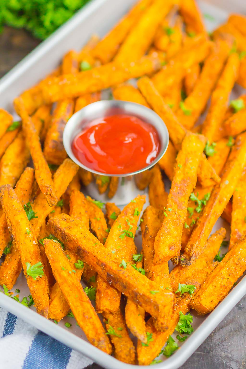 Crispy Baked Sweet Potato Fries are easy to make and seasoned to perfection. Healthier than the fried version and so delicious, thesecrunchy fries are perfect for a simple snack or side dish!