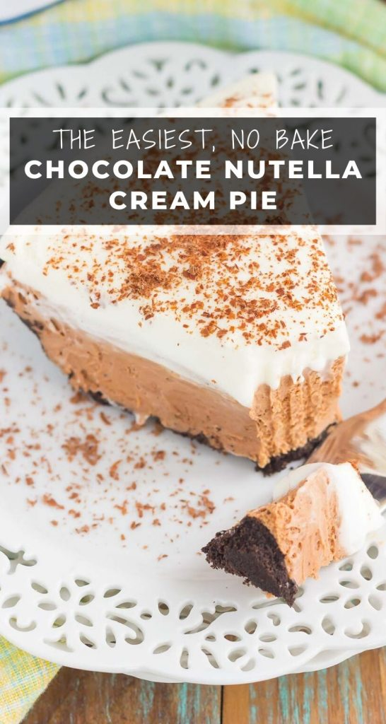 This Chocolate Nutella Cream Pie is filled with a smooth and creamy base of nutella, enveloped in a chocolate cookie crust and topped with homemade whipped cream. Easy to make and ready in no time, this decadent recipe is perfect for impressing dessert lovers everywhere! #nutella #nutellapie #pie #nobake #nobakepies #pierecipes #nutellarecipes #nobakedesserts