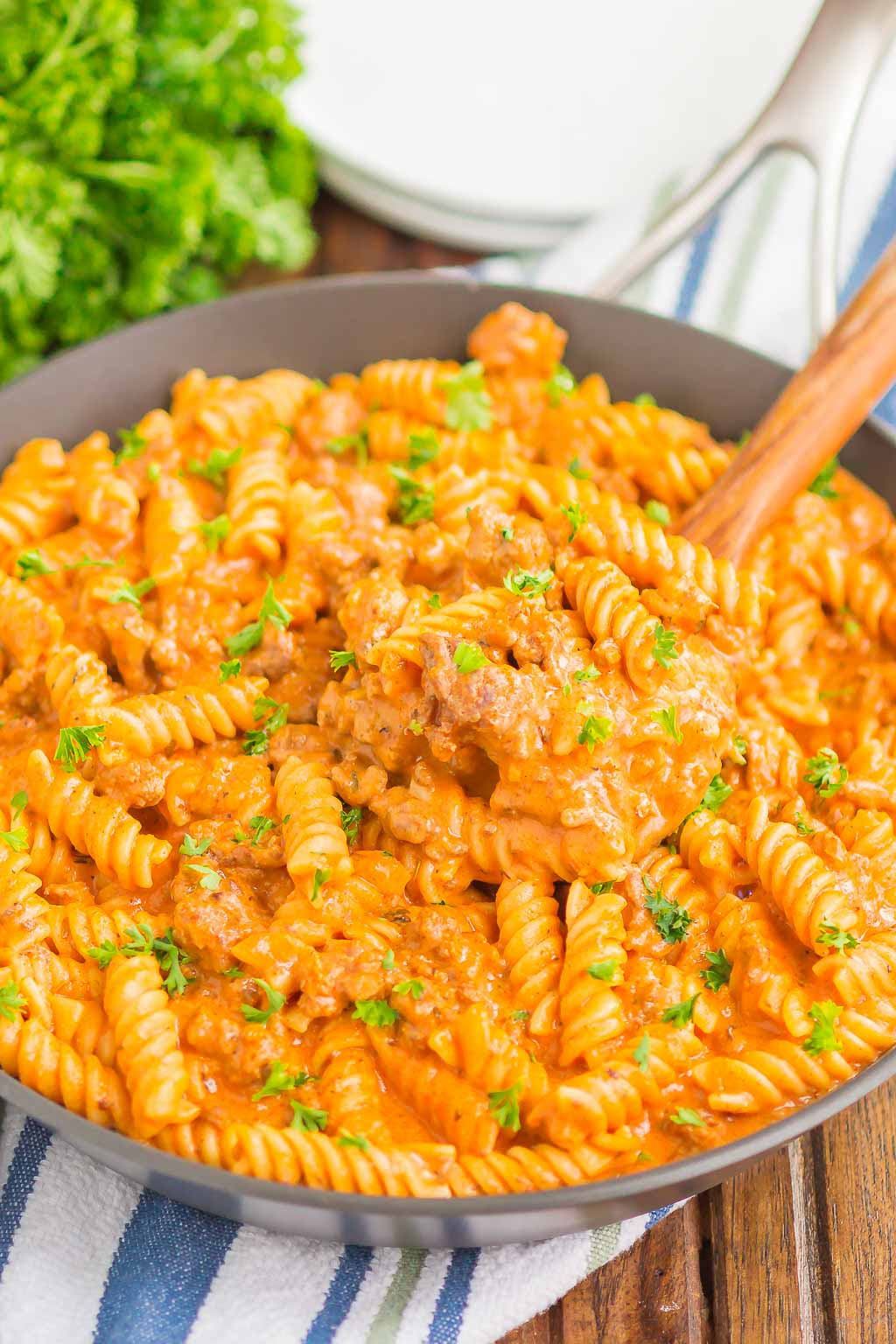 ground beef pasta in large skillet