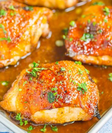 Honey Balsamic Chicken is an easy dish that's loaded with flavor. A simple marinade makes a delicious glaze for chicken thighs that's tangy, sweet, and oh-so delicious!