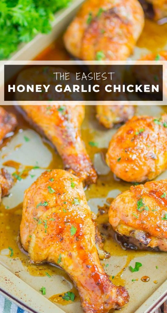 Honey Garlic Chicken Legs are a fast and easy dish that's loaded with flavor. Chicken legs are coated in a sweet and savory glaze and baked until tender and juicy. Perfect for a simple dinner! #chicken #chickenlegs #chickenrecipes #chickendinner #drumstickrecipes #hoenychicken #garlicchicken #dinner