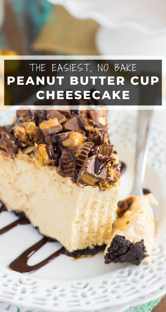 This No-Bake Peanut Butter Cup Cheesecake starts with an Oreo peanut butter cookie crust, followed by a creamy, peanut butter batter, and sprinkled with chopped peanut butter cups and chocolate syrup! #cheesecake #nobake #nobakecheesecake #peanutbutter #peanutbuttercheesecake #cheesecakerecipe #nobakerecipes #dessert #easydesserts