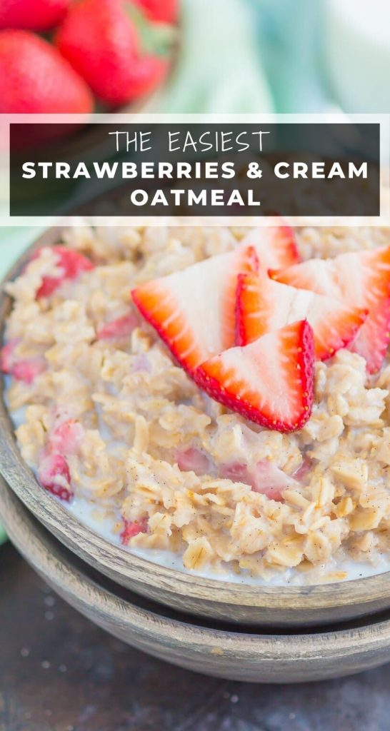 Strawberries and Cream Oatmeal is a deliciously simple way to start your day. With just a few ingredients and ready in minutes, this sweet and creamy oatmeal will keep you going all morning long! #oatmeal #strawberryoatmeal #strawberriesandcreamoatmeal #stovetopoatmeal #oatmealrecipes #breakfast #breakfastrecipes