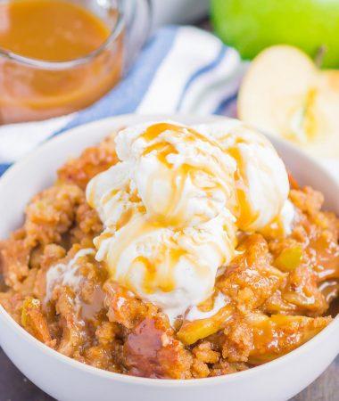 Caramel-Drizzled Easy Apple Cobbler