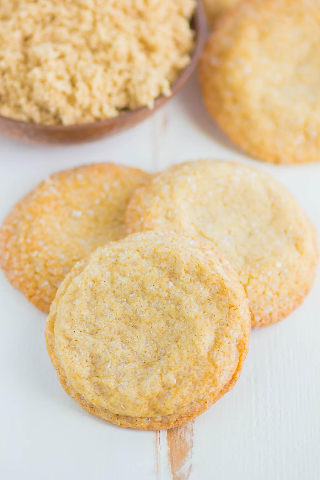 Overhead view of three simple brown sugar cookies.