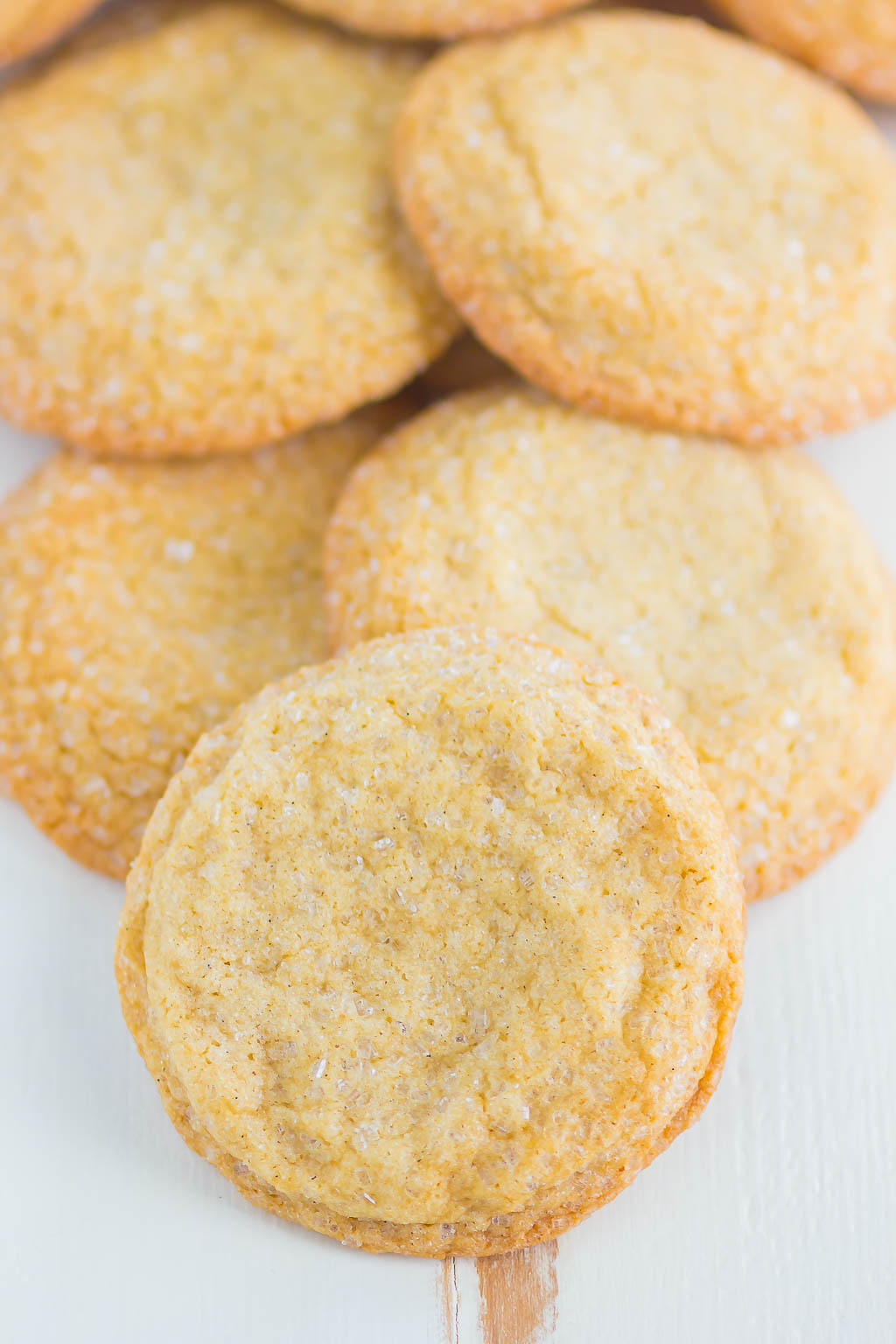 Overhead view of a pile of chewy brown sugar cookies.