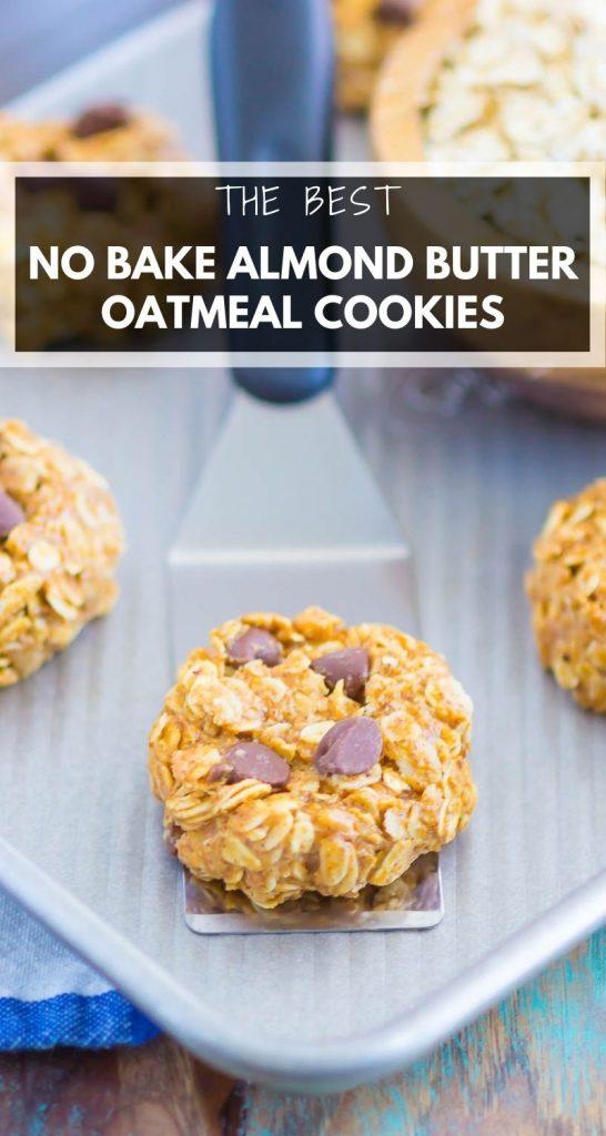 No Bake Almond Butter Oatmeal Cookies