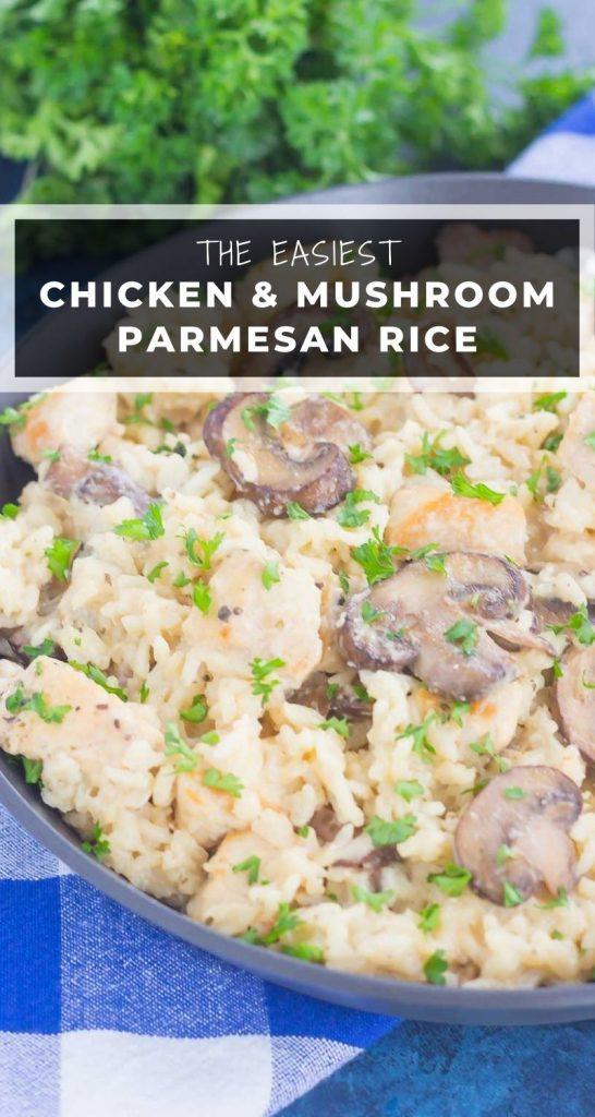 One Pan Chicken Mushroom Parmesan Rice