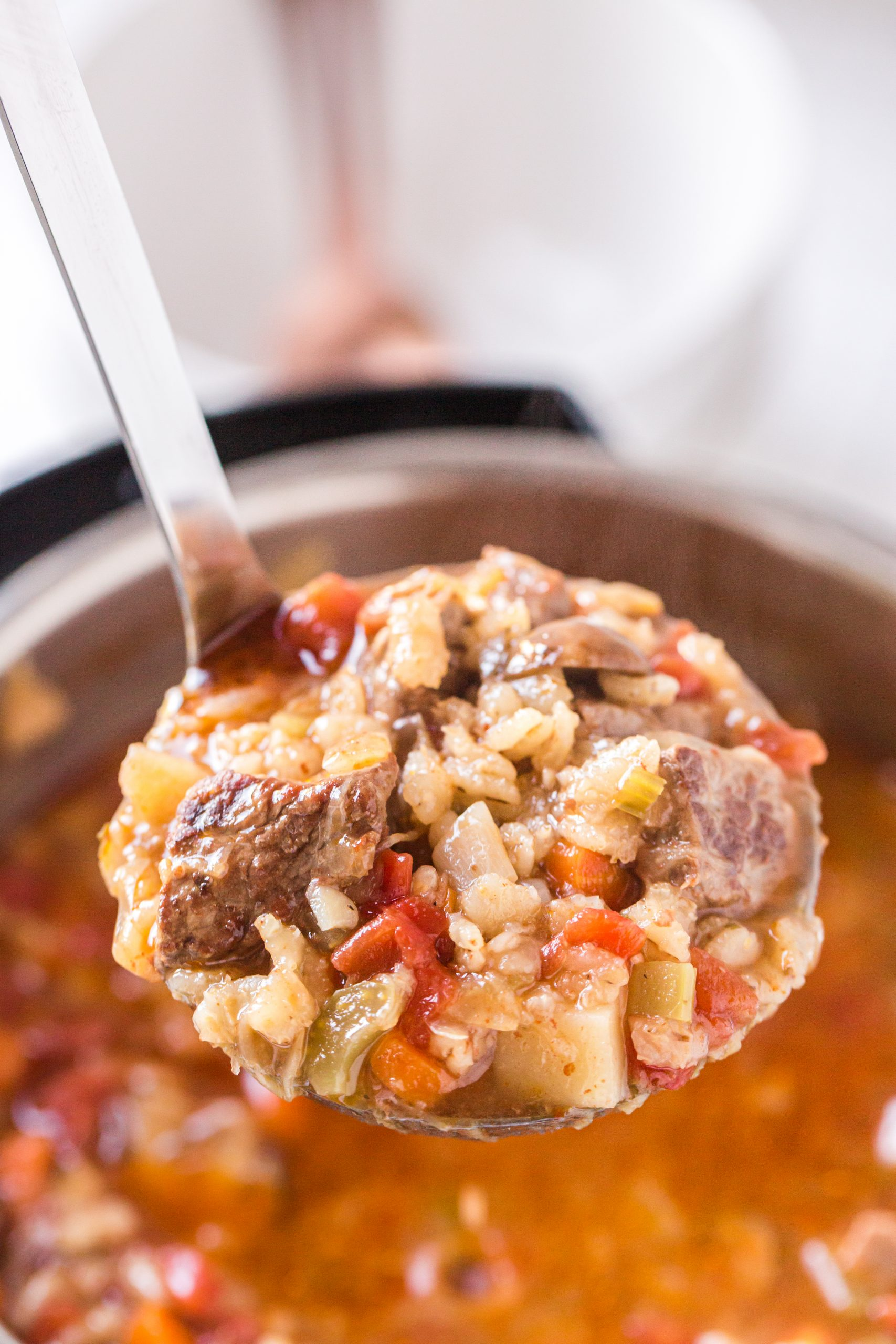 Instant Pot Beef and Barley Soup