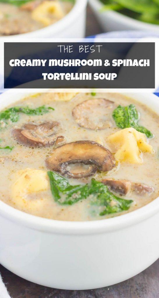 Creamy Mushroom Spinach Tortellini Soup