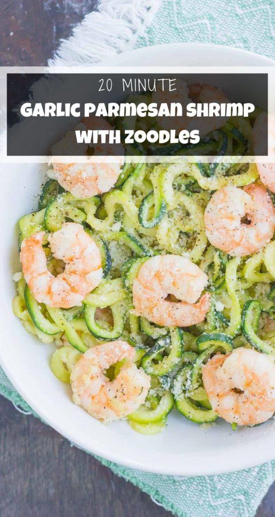 Garlic Parm Zoodles with Shrimp