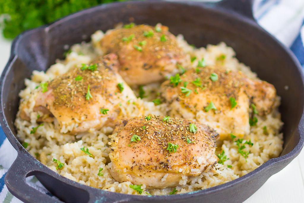 One Pan Chicken Garlic Parmesan Rice