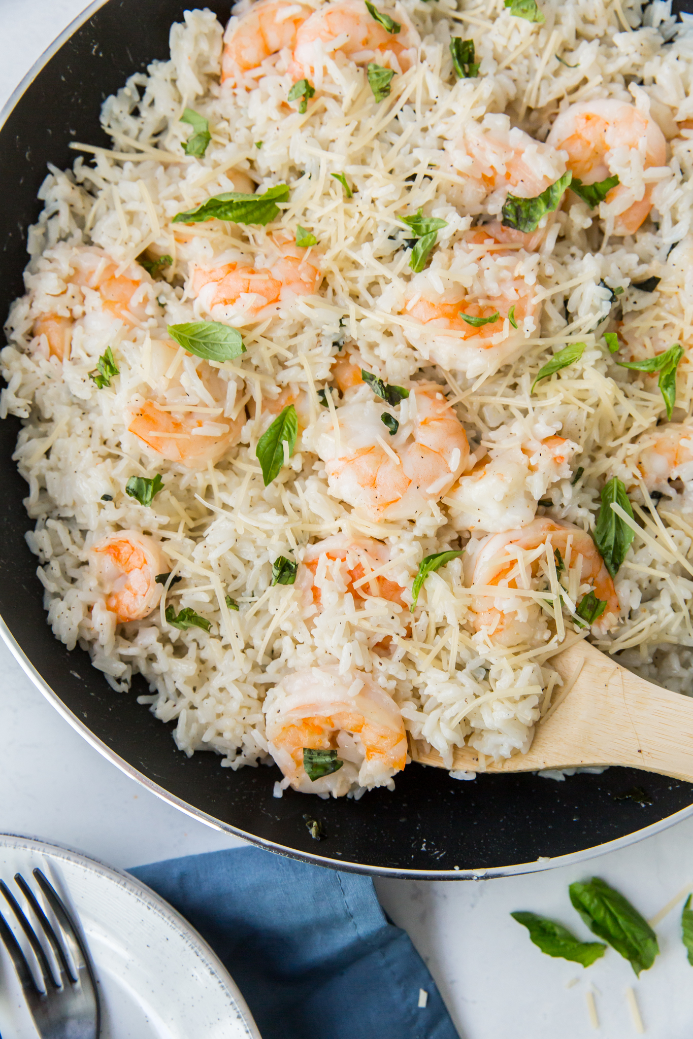 shrimp and rice in pan