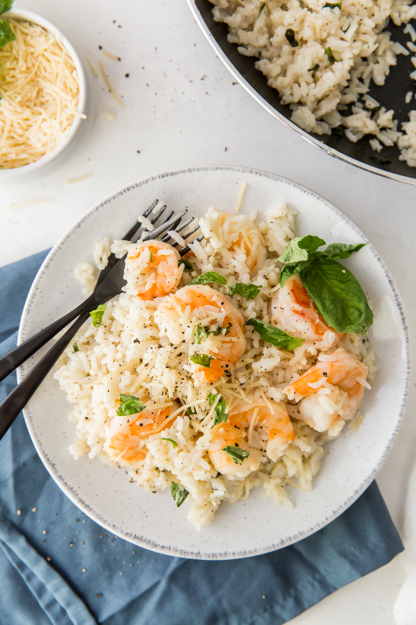 shrimp and rice on plate
