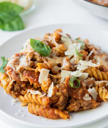 pasta on a white plate